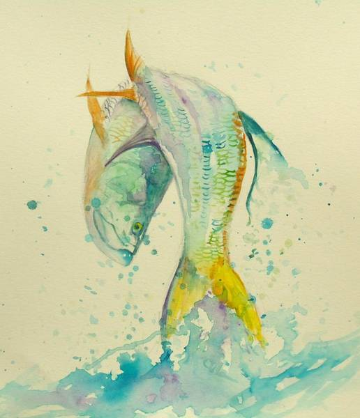 Trout Watercolor Wall Art - Painting - King's Jump  by Yusniel Santos