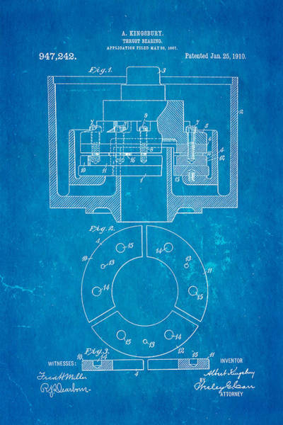 Fitter Photograph - Kingsbury Thrust Bearing Patent Art 1910 Blueprint by Ian Monk