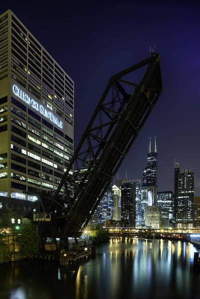 Kinzie Street Railroad Bridge At Night Art Print