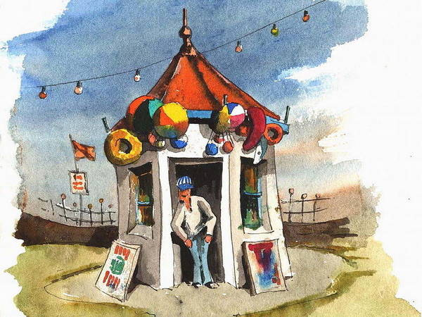 Painting - Kiosk On The Prom Bray by Val Byrne