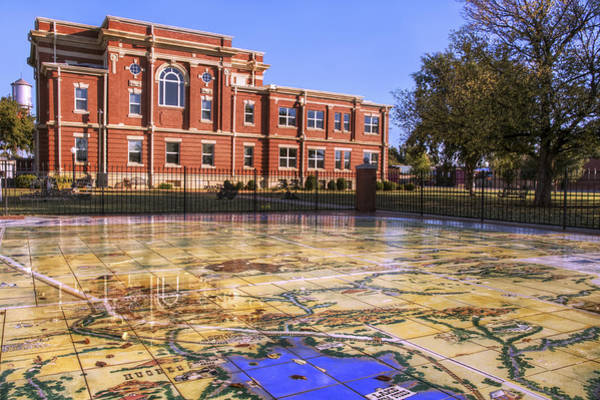 Kiowa County Courthouse With Mural - Hobart - Oklahoma Art Print