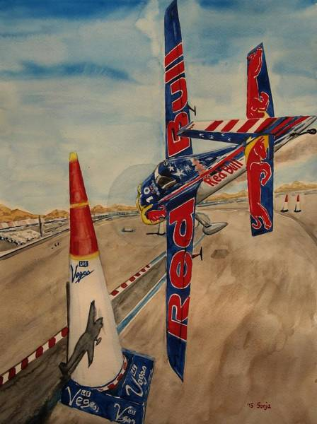 Pylon Painting - Kirby Chambliss Flying The Chicane by Sonja Englert