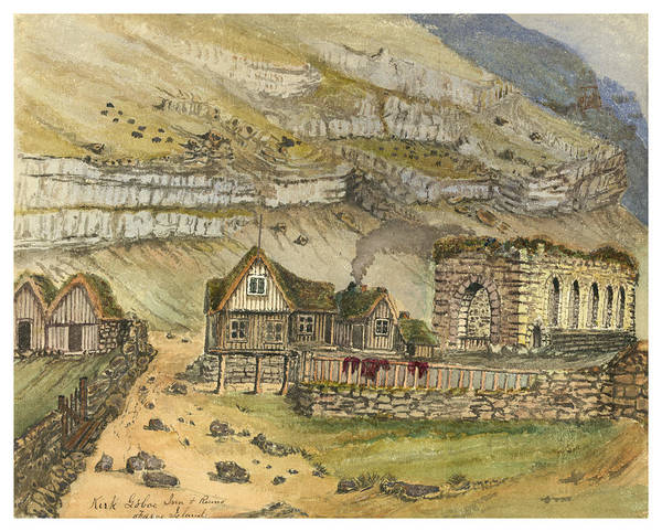 Faroe Island Wall Art - Painting - Kirk G Boe Inn And Ruins Faroe Island Circa 1862 by Aged Pixel