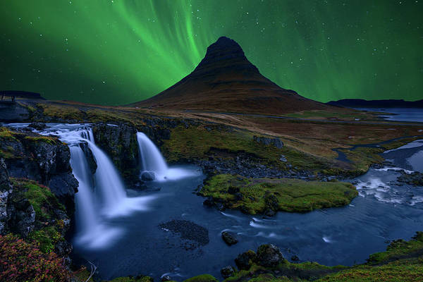Northern Photograph - Kirkjufell...   Under A Boreal Green Sky by Alvaro Roxo