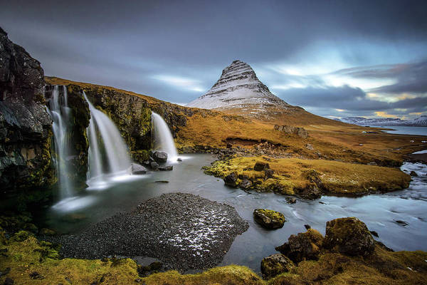 Horizontal Landscape Photograph - Kirkjufell With Waterfalls by Piriya Photography