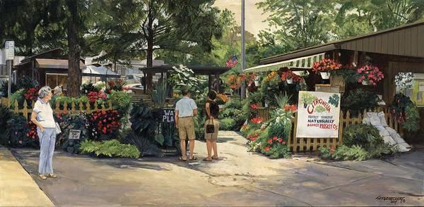Flower Market Painting - Kirkwood Flower Graden by Don  Langeneckert