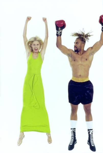 Sports Equipment Photograph - Kirsty Hume Jumps With Boxer Shannon Briggs by Arthur Elgort
