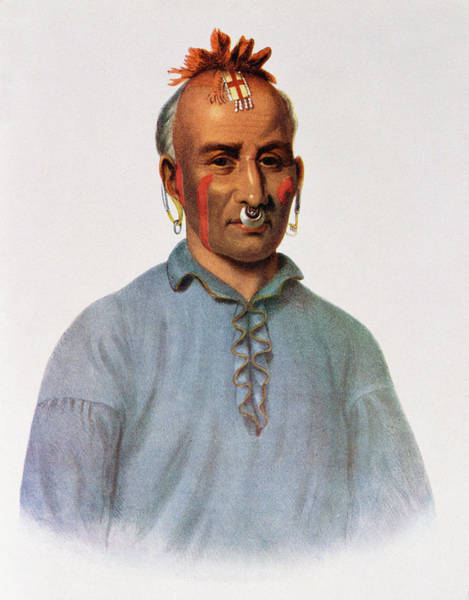 Body Piercing Photograph - Kish-kal-wa, A Shawnee Chief, Illustration From The Indian Tribes Of North America, Vol.1 by American School