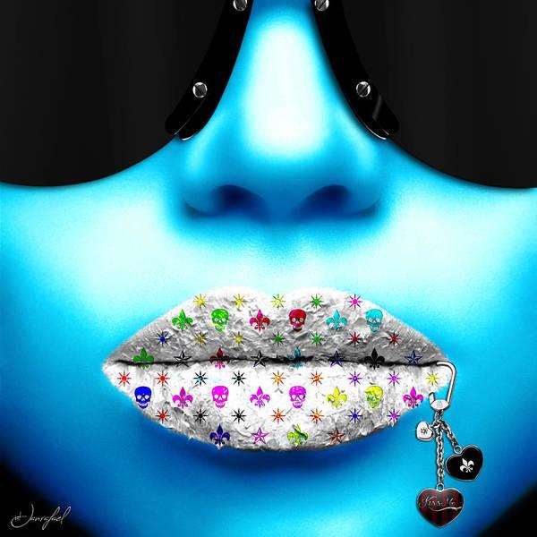 Lip Piercing Wall Art - Digital Art - Kiss Me Blue by Jan Raphael