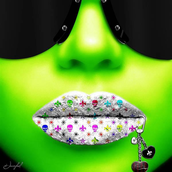 Lip Piercing Wall Art - Digital Art - Kiss Me Green by Jan Raphael