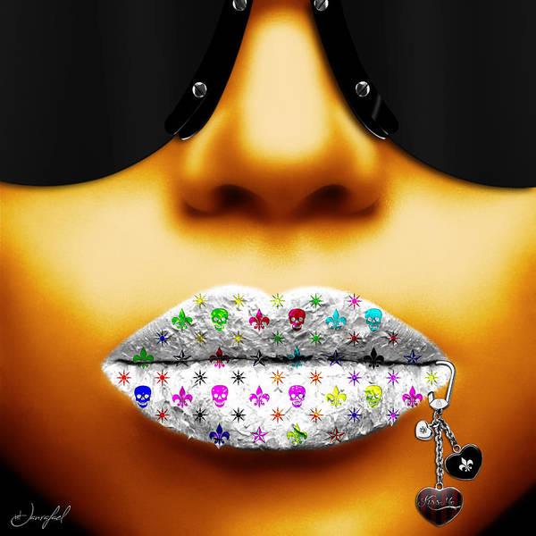 Lip Piercing Wall Art - Digital Art - Kiss Me Yellow Gold by Jan Raphael