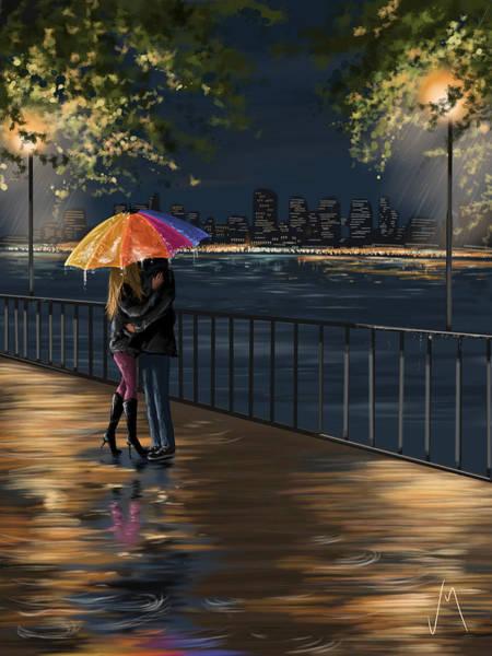 Night Walk Painting - Kiss by Veronica Minozzi
