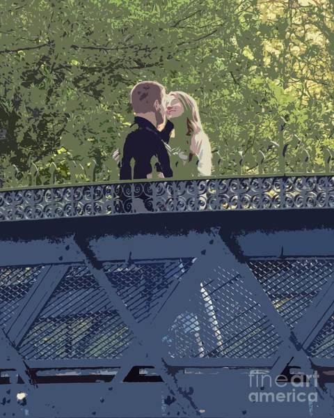 Kissing On A Bridge Art Print