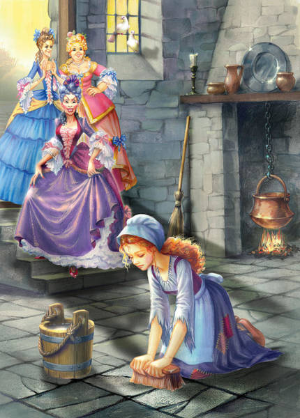 Cinderella Wall Art - Photograph - Kitchen Chores by MGL Meiklejohn Graphics Licensing