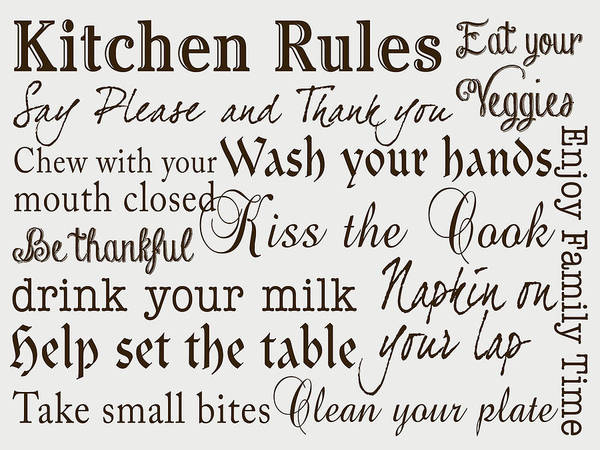 Wall Art - Digital Art - Kitchen Rules IIi by Sd Graphics Studio