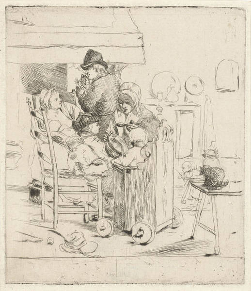 Wall Art - Drawing - Kitchen Scene With Children, Louis Bernard Coclers by Louis Bernard Coclers