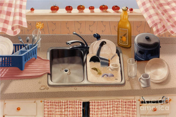 Wall Art - Painting - Kitchen Sink Bubba Lees 1997  Skewed Perspective Series 1991 - 2000 by Lawrence Preston