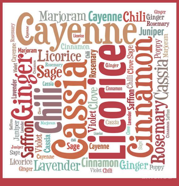 Saffron Digital Art - Kitchen Spices Word Art by Anne Kitzman