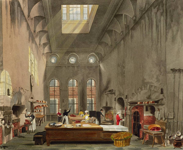 Prepare Drawing - Kitchen, St. Jamess Palace, Engraved by James Stephanoff