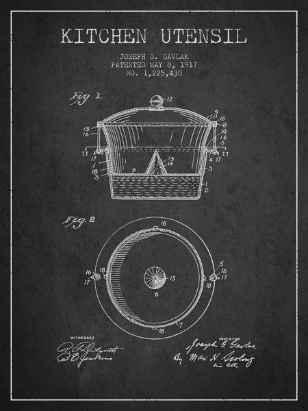 Kitchen Utensil Digital Art - Kitchen Utensil Patent From 1917 - Dark by Aged Pixel