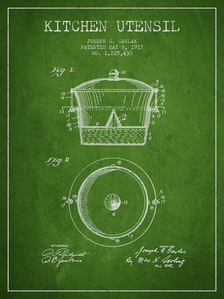 Kitchen Utensil Digital Art - Kitchen Utensil Patent From 1917 - Green by Aged Pixel