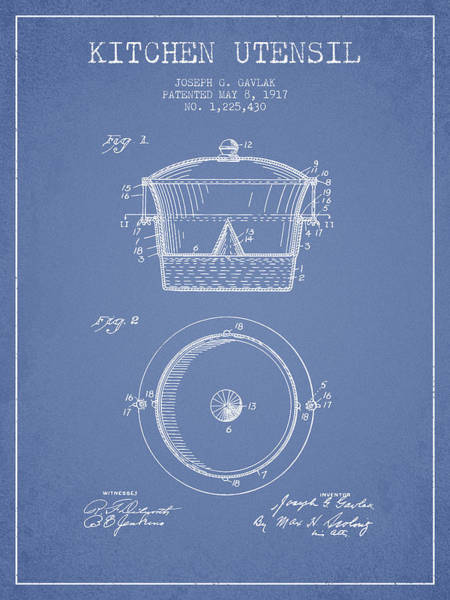 Kitchen Utensil Digital Art - Kitchen Utensil Patent From 1917 - Light Blue by Aged Pixel