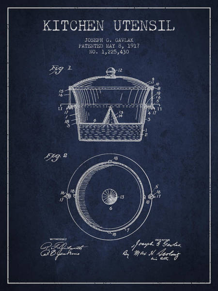 Kitchen Utensil Digital Art - Kitchen Utensil Patent From 1917 - Navy Blue by Aged Pixel