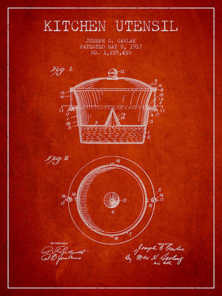 Kitchen Utensil Digital Art - Kitchen Utensil Patent From 1917 - Red by Aged Pixel