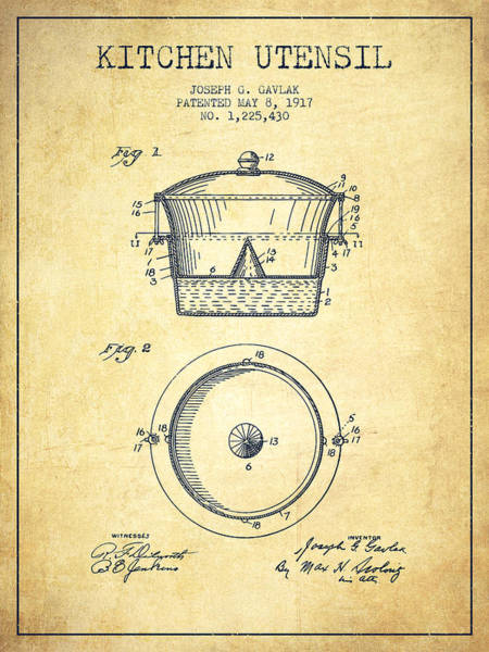Kitchen Utensil Digital Art - Kitchen Utensil Patent From 1917 - Vintage by Aged Pixel