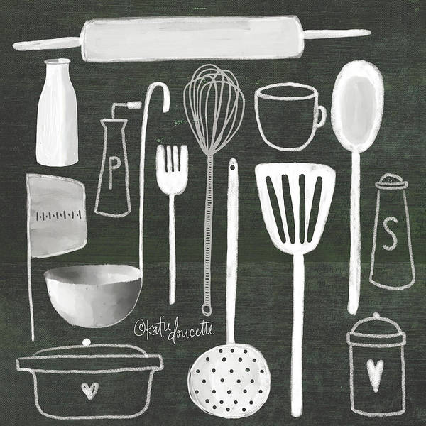 Kitchen Painting - Kitchen Utensils by Katie Doucette