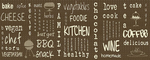 Bbq Digital Art - Kitchen Words by Georgia Fowler