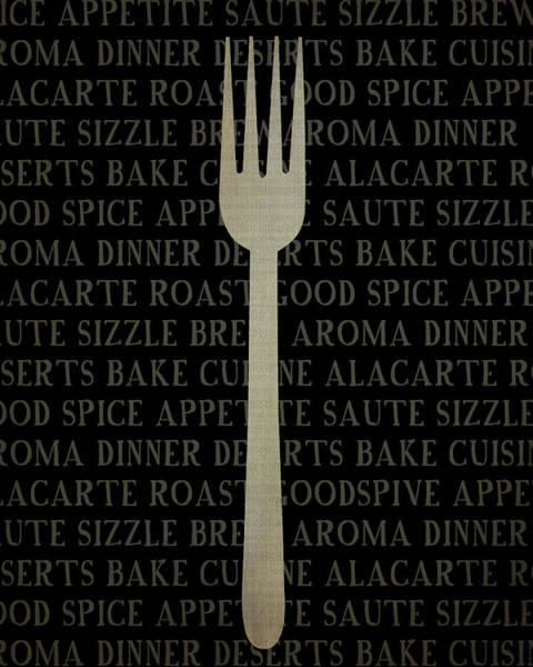 Kitchen Painting - Kitchen Words With Fork by Amy Cummings
