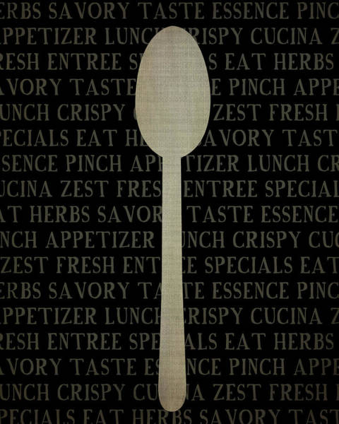 Kitchen Painting - Kitchen Words With Spoon by Amy Cummings