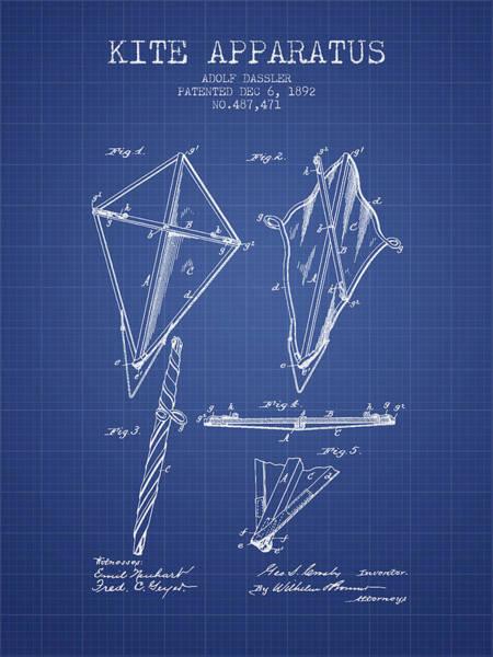 Kite Wall Art - Digital Art - Kite Apparatus Patent From 1892 - Blueprint by Aged Pixel