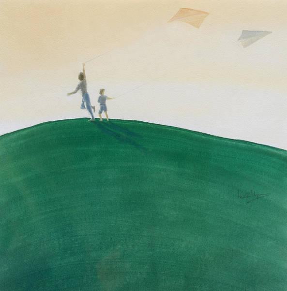 Jogging Painting - Kite Flying by Lincoln Seligman