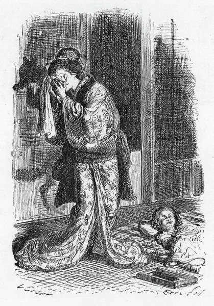 Wall Art - Drawing - Kitsne, A Japanese Witch, Is  Betrayed by Mary Evans Picture Library