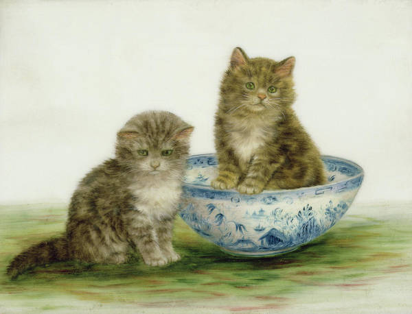 Kitsch Painting - Kitten In A Blue China Bowl by Bessie Bamber