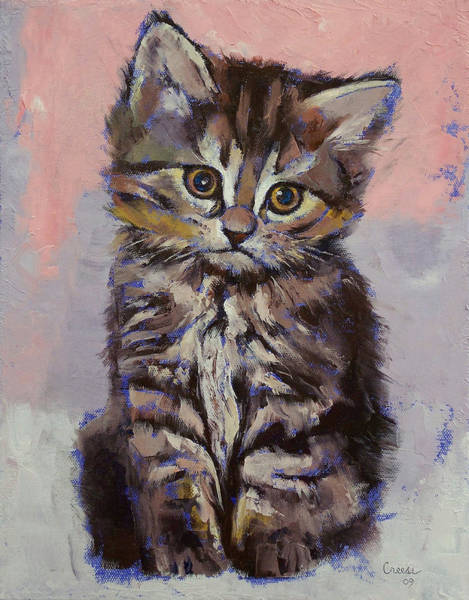 3d Painting - Kitten by Michael Creese