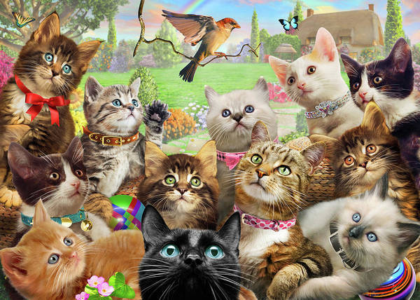 Wall Art - Painting - Kittens And Bird Europe by MGL Meiklejohn Graphics Licensing