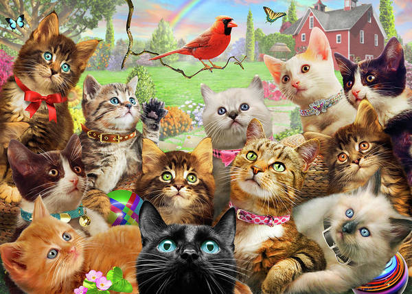 Wall Art - Painting - Kittens And Bird Us by MGL Meiklejohn Graphics Licensing