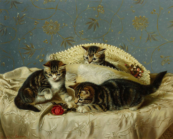 Kitten Play Wall Art - Painting - Kittens Up To Mischief by HH Couldery