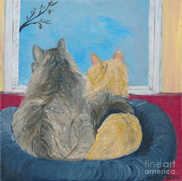 Painting - Kitties In The Window by Ania M Milo