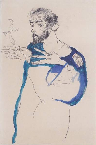 Painting - Klimt In A Light Blue Smock by Celestial Images