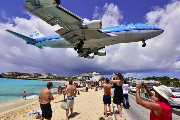 Photograph - Klm Landing At St Maarten 3  by Matt Swinden