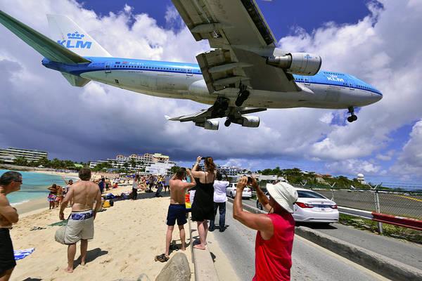 Photograph - Klm Landing At St Maarten 4  by Matt Swinden