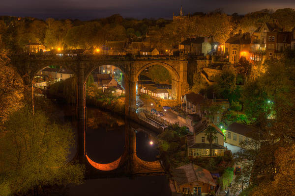 Photograph - Knaresbrough Viaduct At Night Reflection by Dennis Dame