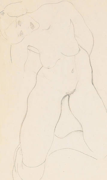 Erotica Drawing - Kneeling Female Nude by Egon Schiele