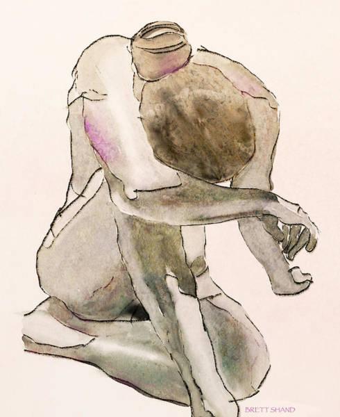 Digital Art - Kneeling Nude by Brett Shand