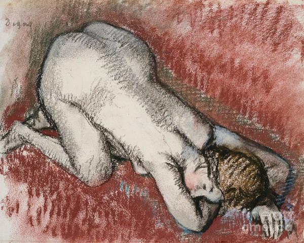 Edgar Wall Art - Pastel - Kneeling Nude Woman by Edgar Degas