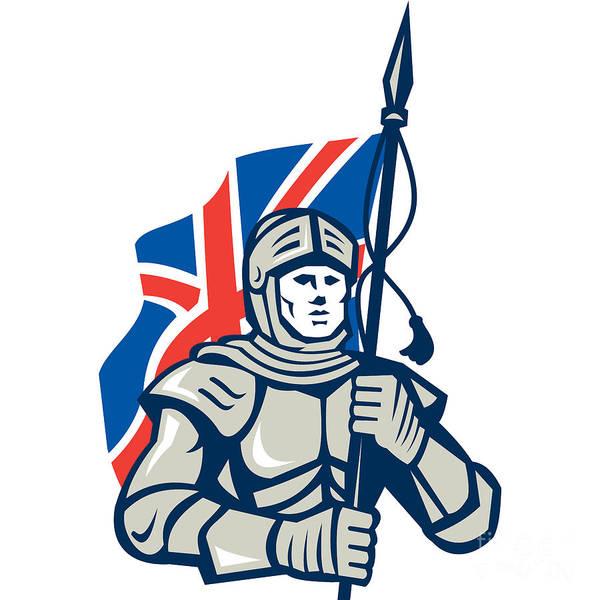 Knight British Flag Retro Art Print